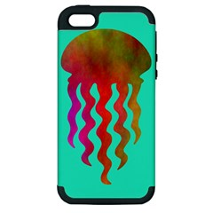 Jellyfish Blue Sq Apple Iphone 5 Hardshell Case (pc+silicone)