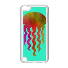 Jellyfish Blue Sq Apple Ipod Touch 5 Case (white)