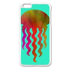 Jellyfish Blue Sq Apple Iphone 6 Plus/6s Plus Enamel White Case