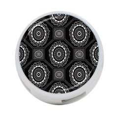 Circle Plaid Black Floral 4 Port Usb Hub (two Sides)