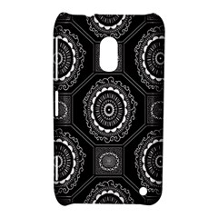 Circle Plaid Black Floral Nokia Lumia 620