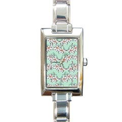 Flower Floral Lilly White Blue Rectangle Italian Charm Watch