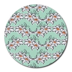 Flower Floral Lilly White Blue Round Mousepads
