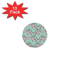Flower Floral Lilly White Blue 1  Mini Buttons (10 Pack)