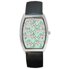 Flower Floral Lilly White Blue Barrel Style Metal Watch