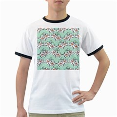 Flower Floral Lilly White Blue Ringer T Shirts