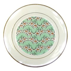 Flower Floral Lilly White Blue Porcelain Plates