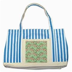Flower Floral Lilly White Blue Striped Blue Tote Bag