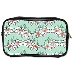 Flower Floral Lilly White Blue Toiletries Bags 2-Side