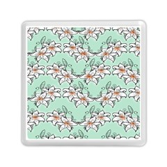 Flower Floral Lilly White Blue Memory Card Reader (Square)