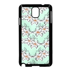 Flower Floral Lilly White Blue Samsung Galaxy Note 3 Neo Hardshell Case (Black)