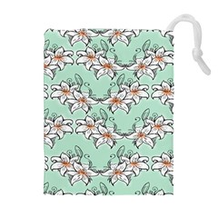 Flower Floral Lilly White Blue Drawstring Pouches (Extra Large)