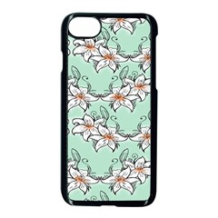 Flower Floral Lilly White Blue Apple Iphone 7 Seamless Case (black)