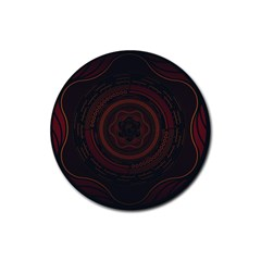 Hand Illustration Graphic Fabric Woven Red Purple Yellow Rubber Coaster (round)