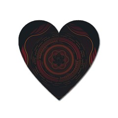 Hand Illustration Graphic Fabric Woven Red Purple Yellow Heart Magnet