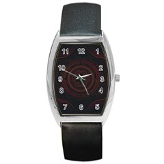 Hand Illustration Graphic Fabric Woven Red Purple Yellow Barrel Style Metal Watch