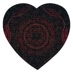 Hand Illustration Graphic Fabric Woven Red Purple Yellow Jigsaw Puzzle (Heart)