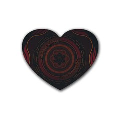 Hand Illustration Graphic Fabric Woven Red Purple Yellow Rubber Coaster (heart)