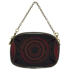Hand Illustration Graphic Fabric Woven Red Purple Yellow Chain Purses (two Sides)