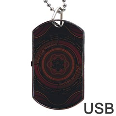 Hand Illustration Graphic Fabric Woven Red Purple Yellow Dog Tag Usb Flash (one Side)