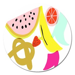 Fruit Watermelon Strawberry Banana Orange Shoes Lime Magnet 5  (round)