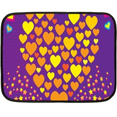 Heart Love Valentine Purple Orange Yellow Star Fleece Blanket (mini)