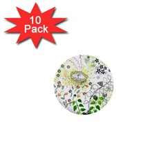 Flower Flowar Sunflower Rose Leaf Green Yellow Picture 1  Mini Buttons (10 Pack)