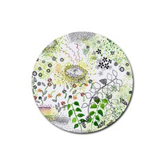 Flower Flowar Sunflower Rose Leaf Green Yellow Picture Rubber Round Coaster (4 Pack)