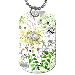 Flower Flowar Sunflower Rose Leaf Green Yellow Picture Dog Tag (Two Sides)