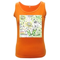 Flower Flowar Sunflower Rose Leaf Green Yellow Picture Women s Dark Tank Top
