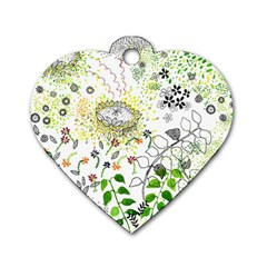 Flower Flowar Sunflower Rose Leaf Green Yellow Picture Dog Tag Heart (One Side)
