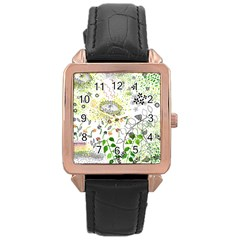 Flower Flowar Sunflower Rose Leaf Green Yellow Picture Rose Gold Leather Watch
