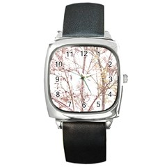Textured Nature Print Square Metal Watch