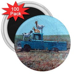 Goats on a Pickup Truck 3  Magnets (100 pack)