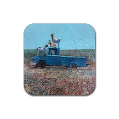 Goats On A Pickup Truck Rubber Coaster (square)