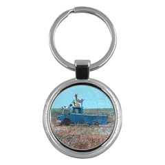 Goats on a Pickup Truck Key Chains (Round)