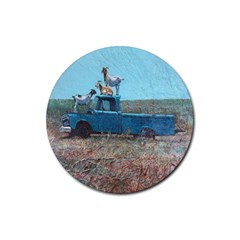 Goats on a Pickup Truck Rubber Round Coaster (4 pack)