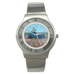 Goats on a Pickup Truck Stainless Steel Watch