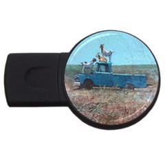 Goats On A Pickup Truck Usb Flash Drive Round (4 Gb)
