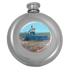 Goats on a Pickup Truck Round Hip Flask (5 oz)