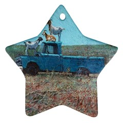 Goats On A Pickup Truck Star Ornament (two Sides)