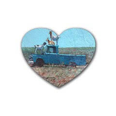 Goats on a Pickup Truck Rubber Coaster (Heart)