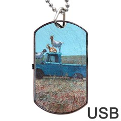 Goats on a Pickup Truck Dog Tag USB Flash (One Side)