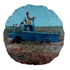 Goats On A Pickup Truck Large 18  Premium Round Cushions