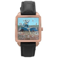 Goats On A Pickup Truck Rose Gold Leather Watch