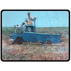 Goats on a Pickup Truck Double Sided Fleece Blanket (Large)