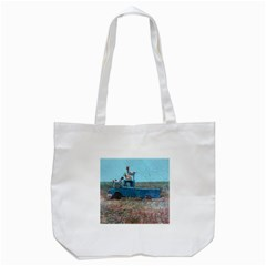 Goats on a Pickup Truck Tote Bag (White)