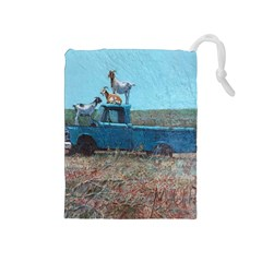 Goats On A Pickup Truck Drawstring Pouches (medium)
