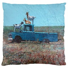 Goats On A Pickup Truck Large Flano Cushion Case (two Sides)