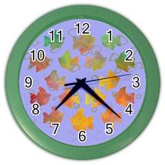 Tropical Fish Blue Art Color Wall Clocks